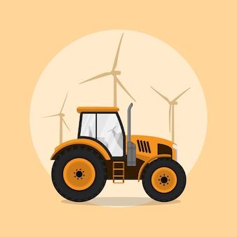 Изображение трактора с силуэтами ветряных мельниц на фоне, стиль иллюстрации