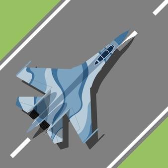 Изображение военного самолета, стоящего на взлетно-посадочной полосе, стиль иллюстрации