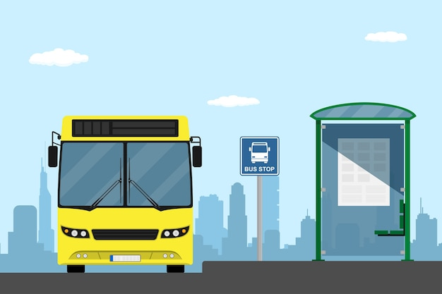 Изображение желтого городского автобуса на автобусной остановке, иллюстрация стиля