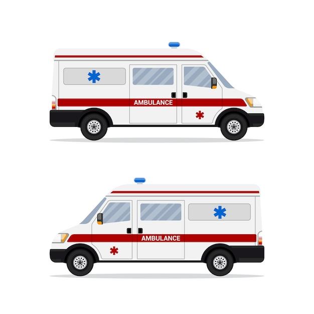 白い背景の上の救急救命士の救急車の写真。応急処置輸送。 。