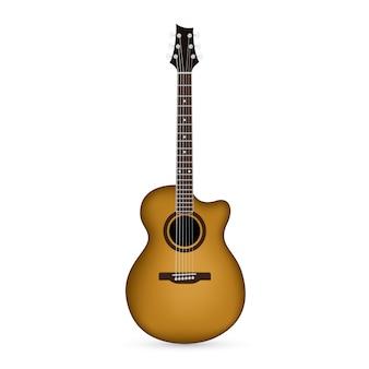 白い背景の上のアコースティックギターの写真