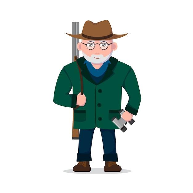 Изображение охотника на старика на белом фоне.