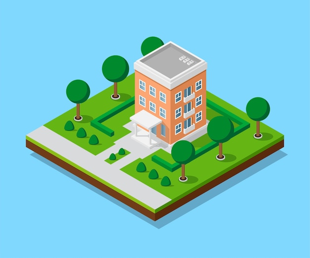 歩道と木々、低ポリの町の建物、アイソメトリックアイコン、または市街地図作成用のインフォグラフィック要素を備えたアパートの写真