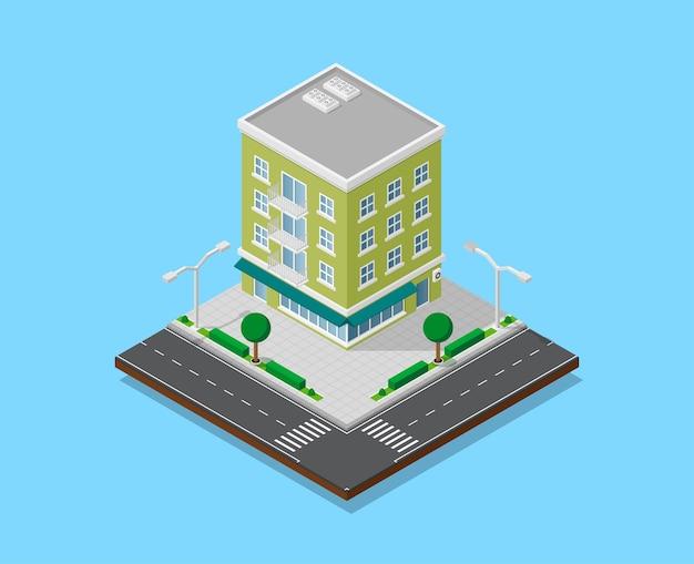 歩道、道路、木々、街灯、低ポリの町の建物、アイソメトリックアイコン、または市街地図作成用のインフォグラフィック要素を備えたアパートの写真