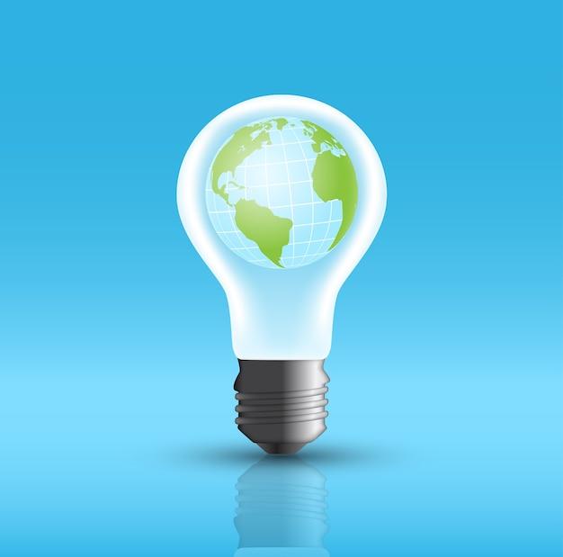 地球が入った電球の写真、