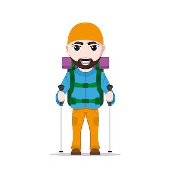 大きなバックパックとトレッキングポール、白い背景の上の観光客の男のキャラクターと漫画旅行者の写真