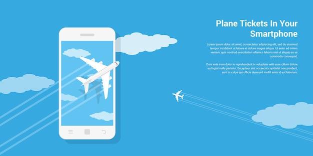 携帯電話、スタイルの図、モバイル航空券サービスのコンセプトの上を飛んでいる民間機の写真