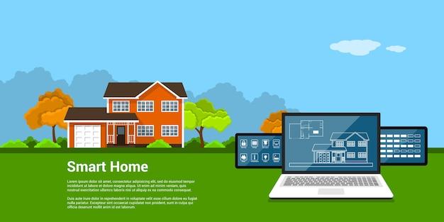 Изображение планшетного компьютера с домом и значками мониторинга дома и коттедж на заднем плане, концепция стиля умного дома