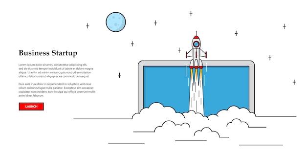 飛んでいるロケットの写真、起業バナーのコンセプト、
