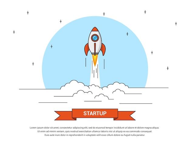 비행 로켓, 사업 시작 배너 개념의 그림,