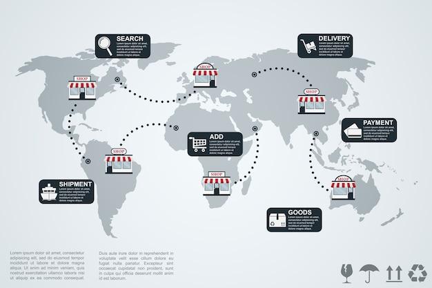 Изображение инфографического шаблона с картой мира, магазинами и значками, концепцией электронной коммерции
