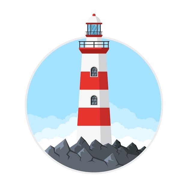 Изображение маяка со скалами и облаками,