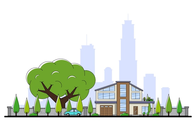 Изображение современного частного жилого дома с автомобилем, деревьями и силуэтом большого города на фоне, концепция недвижимости и строительной индустрии,