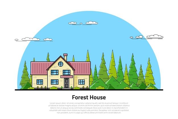 Картина современного частного жилого дома с холмами и деревьями на заднем плане, концепция недвижимости и строительной индустрии