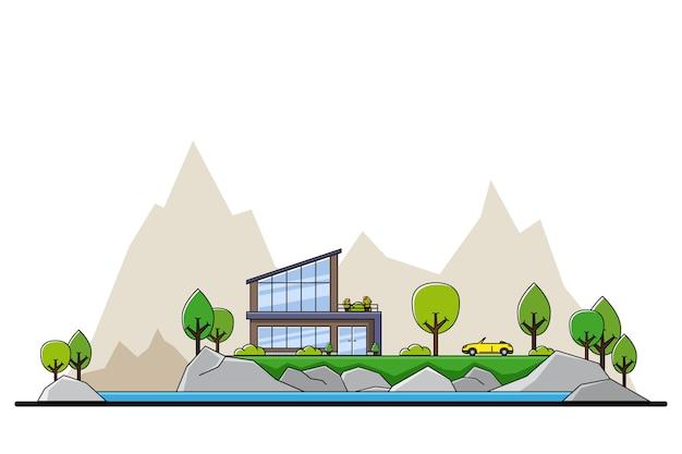 Картина современного частного жилого дома с деревьями и большим силуэтом города на фоне, концепция недвижимости и строительной индустрии,