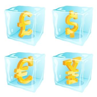 角氷の中で凍った通貨記号の写真