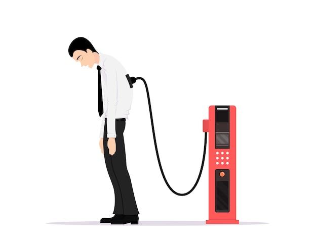 Изображение офисного работника, усталого от работы и зарядки от электростанции, низкого заряда батареи, усталой концепции