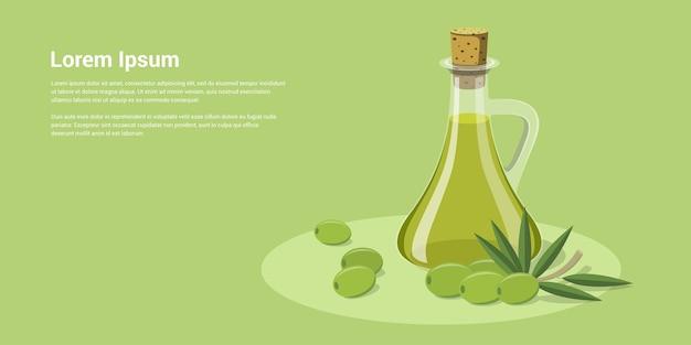 Olivesmスタイルのイラストがオリーブオイルのボトルの写真
