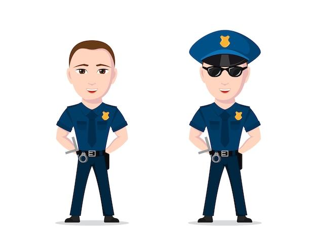 흰색 바탕에 경찰관의 그림