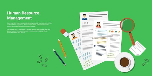 印刷された履歴書とオフィスアクセサリーのパンシル、消しゴム、虫眼鏡、一杯のコーヒーなどの画像、人的資源管理の概念のスタイルバナー
