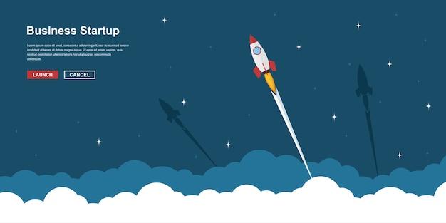 구름 위의 로켓 비행, 사업 시작 배너 개념, 스타일 일러스트의 그림