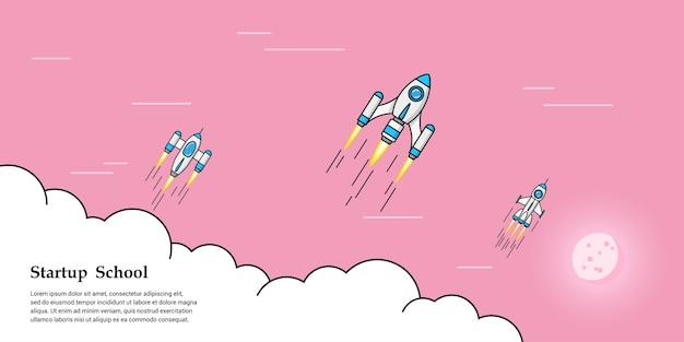 구름 위를 날아 다니는 로켓의 그림, 사업 시작 배너 개념,
