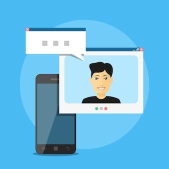 男のアバターと吹き出し、モバイル通信の概念、ビデオ通話を持つスマートフォンの画像