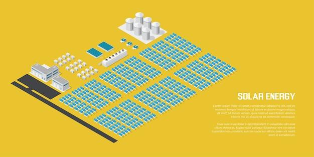 Изображение солнечных батарей в пустыне с горами и силуэт большого города на фоне, плоская концепция возобновляемой солнечной энергии
