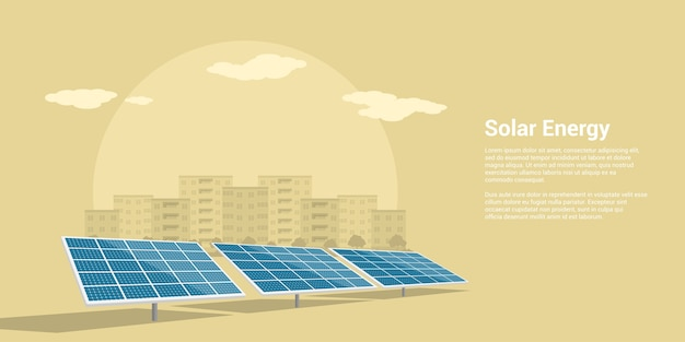 背景、再生可能な太陽エネルギーのスタイルコンセプトに山の都市のシルエットと太陽電池の画像