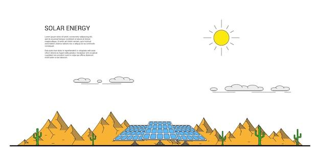 Изображение солнечных батарей перед пустынным пейзажем с кактусами вокруг и горами на заднем плане