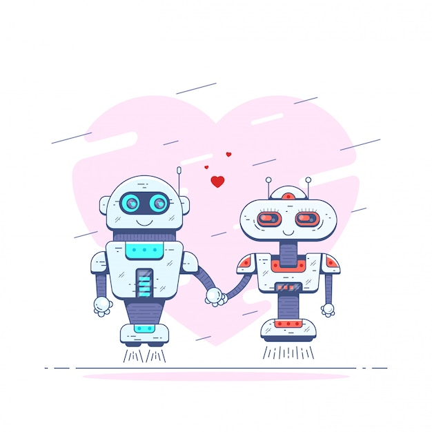 2人のかわいいロボットがお互いに手を握っている写真。愛のロボット。