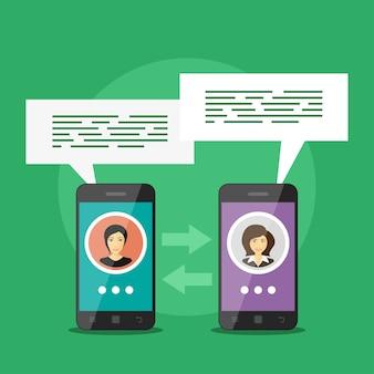 Изображение двух смартфонов с аватарами людей и речевыми пузырями, концепция мобильной связи, видеозвонок