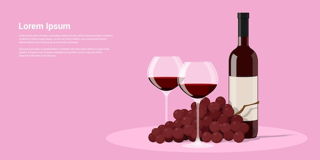 Изображение бутылки вина, двух фужеров и винограда, иллюстрация стиля