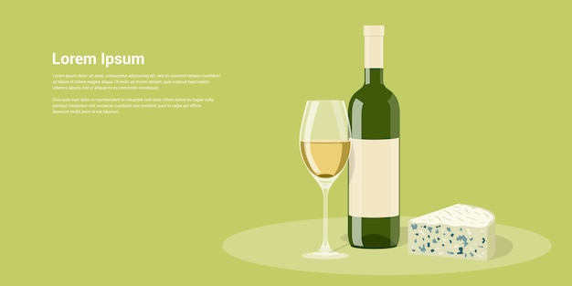 와인 병, 와인 잔과 치즈, 스타일 일러스트 그림