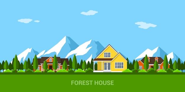 Картина деревянного дома в лесу, с горами на фоне, стиль иллюстрации