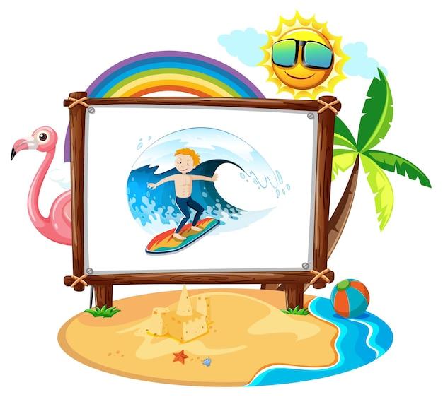 Картина молодого человека в изолированной сцене пляжа