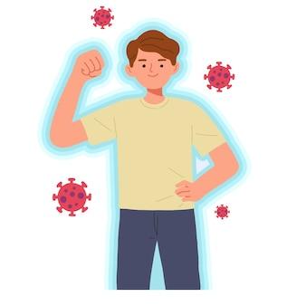 Картина молодого человека, позирующего сильным против вируса, концепции здорового иммунитета