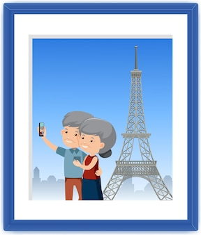 A picture of old couple take a selfie with eiffel tower