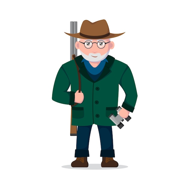 Picture of an old man hunter character  on white background,   .