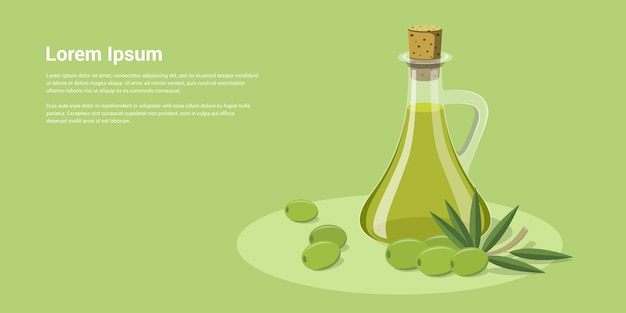 Picture of olive oil bottle with olivesm  style illustration