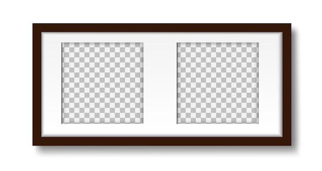 インテリアデザインのモックアップ用の2枚の写真のマットフレームの壁のレイアウトの写真