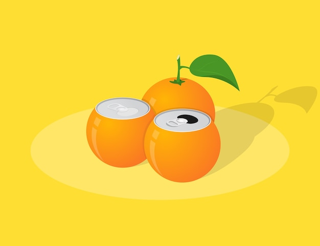 Picture of orange juice cans, orange with leaf on yellow background