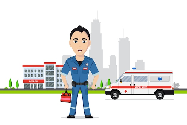 Picture of paramedic in front of ambulance car and hospital building