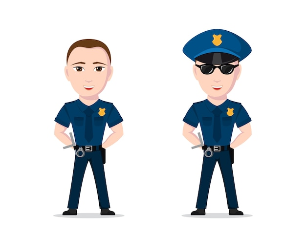 Picture of police officer  on white background