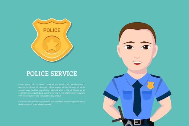 Picture of a police officer with police badge on background.   banner for police service and law protection concept.