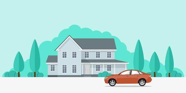 Picture of a privat house and a car in front of it,  style banner concept