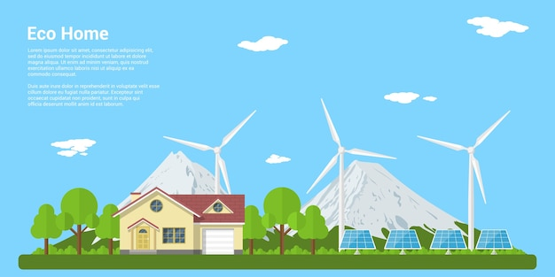 Picture of a privat house, solar panels and wind turbines with mountains on background,  style concept of eco home, renewable energy, ecology