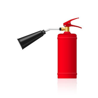Picture of red fire extinguisher on white background