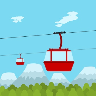 Picture of red ropeway cabines with forest and mountain on background,  style illustration