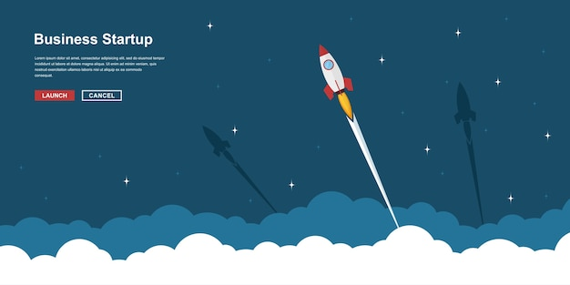 Picture of rocket flying above clouds, business startup banner concept,  style illustration